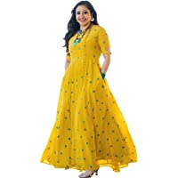 Arayna Women's Rayon Long Embroidered Kurti, Yellow