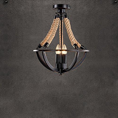 Industrielle Retro Lampe Hanfseil Deckenleuchte 3 flammig Antik Deckenlampe Kronleuchter Decke Beleuchtung Leuchte Wohnzimmerlampe Esszimmerlampe Schlafzimmerlampe Hemisphärisch Eisen Rahmen -