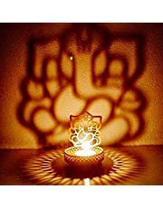 eCraftIndia Shadow Ganesh Ji Metal Tea Light Holder