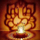 eCraftIndia Lord Ganesha Metal Tea Light Holder (8 cm x 8 cm x 11 cm, Gold, ATLG001)