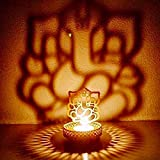 #9: eCraftIndia Lord Ganesha Metal Tea Light Holder (8 cm x 8 cm x 11 cm, Gold, ATLG001)