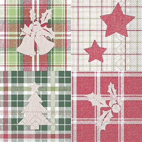 Sovie HOME Serviette Angelina kariert | aus Tissue | festliche Weihnachts-Serviette Tischdeko | 33 x 33 cm, 20 Stück