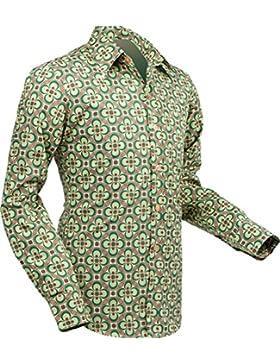 Chena camicia da sci dotsgrid crema–Green, rétro anni '70