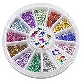 Bluelans® 12 Farben 3mm 3D Glitters Bowknot Nagelsticker Schleife Strass