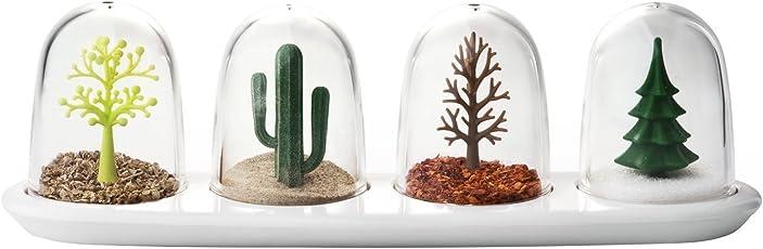 West7 Beautiful Four Seasons Plant Shakers Spice Jar 4 pcs/Set   The Plants Keep The Seasoning Dry Year Round.