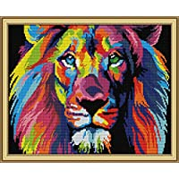 CaptainCrafts New Stamped Cross Stitch Kits Preprinted Pattern Counted Embroidery Starter Kits for Beginner Kids and Adults - Coloured Lion