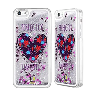 Head Case Designs Floral Heart Patches Silver Liquid Glitter Case Cover for Apple iPhone 5c