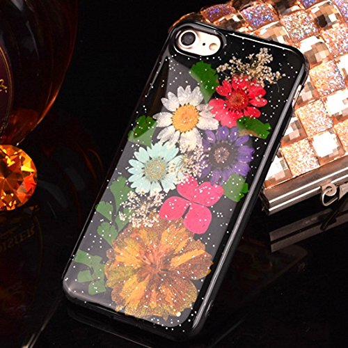 Pour iPhone 6 / 6s, Epoxy Dripping Pressed Real Dried Flower Soft TPU Housse de protection arrière JING ( SKU : Ip6g2295g ) Ip6g2295e