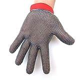Handschuh zum Schutz gegen Schnitte, Edelstahl Metallkette, Schweißen, Stufe 5, schnittfeste Handschuhe mit Lebensmittelqualität für die Küche, sichere Handschuhe