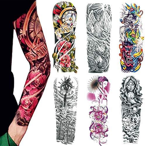 Temporäre Arm Tattoos, Extra GroßE Fake Tattoo Für Männer Und Frauen, Körper Kunst Erwachsene Wasserdichte Aufkleber (6 StüCk)(4)