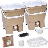 Skaza Bokashi Organko Set (2 x 16 L) Composteurs 2X pour Jardin et Cuisine en Plastique Recyclé | Kit de démarrage avec Activ