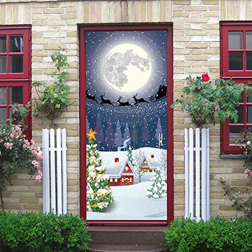 3D Christmas Sticker Weihnachtsbaum Weihnachtsmann Geschenk Pink Fireplace Snowman Road Sign Castle Wohnkultur Aufkleber a 77x200 cm