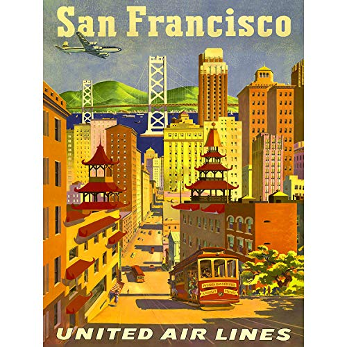 TRAVEL SAN FRANCISCO CALIFORNIA UNITED AIRLINE GOLDEN GATE USA POSTER ART 2495PY - Airlines Poster United