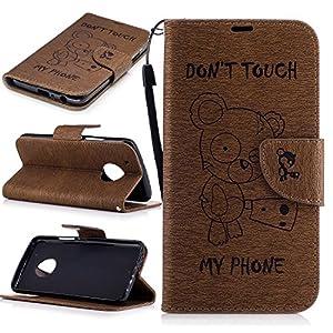 Cozy Hut Wallet Case Kunstlederhülle für Motorola Moto G5 Plus - Cover Flip Tasche in Don't touch my Phone Design mit Kartenfach und Ständerfunktion Brieftasche und Kartenfächer in Niedlich Bär