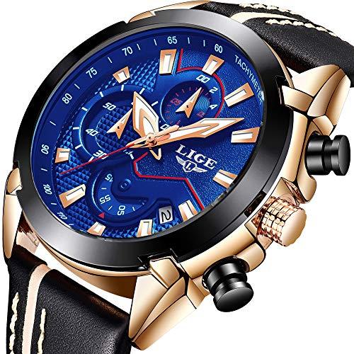 LIGE Herren Chronograph Wasserdicht Militär Sport Analog Quarz Uhr Großes Gesicht Mode Casual Kleid mit Leder Armband LG9869D Roségold Blau -