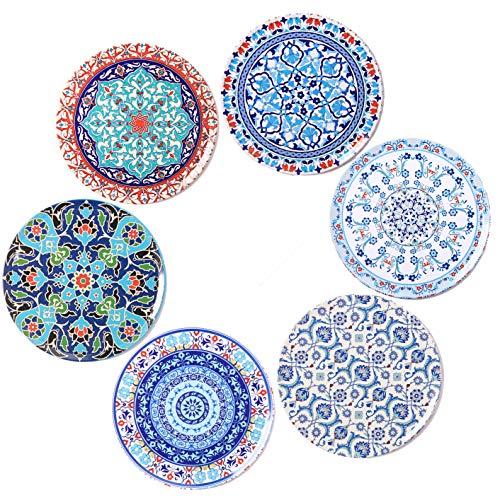 BOHORIA® Premium Design Untersetzer (6er Set) - Dekorative Untersetzer für Glas, Tassen, Vasen, Kerzen auf ihrem Esstisch aus Holz, Glas oder Stein (rund | 9cm) (Orient Edition)