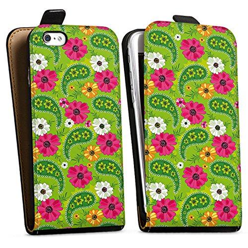Apple iPhone X Silikon Hülle Case Schutzhülle Blumen Muster Bunt Downflip Tasche schwarz