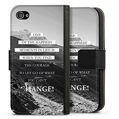 Apple iPhone 7 Hülle Case Handyhülle Sprüche Glücklich Statement Sideflip Tasche schwarz