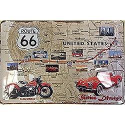Ruta 66 EE.UU. Carretera Map Coche Moto Antigua Garaje 3D Metal/Cartel De Acero Para Pared - 30 x 20 cm