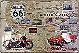 Route 66 USA Highway Map Moto Voiture Ancienne Garage 3D Métal/Panneau Mural Métalique - 30 x 20 cm...