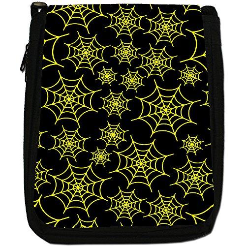 Spider web media per cavalli da sella, colore: nero, Borsa a spalla in tela da uomo, taglia media Yellow Spider Cobwebs