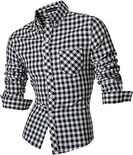 jeansian Herren Freizeit Hemden Shirt Tops Mode Langarmshirts Slim Fit 8523 Black