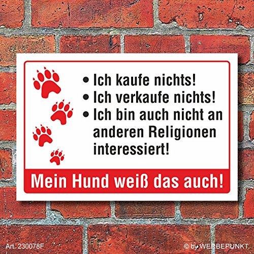 """Preisvergleich Produktbild Schild """"Kaufe nichts Hund Religion lustig """" 3mm Alu-Verbund,  300 x 200 mm"""