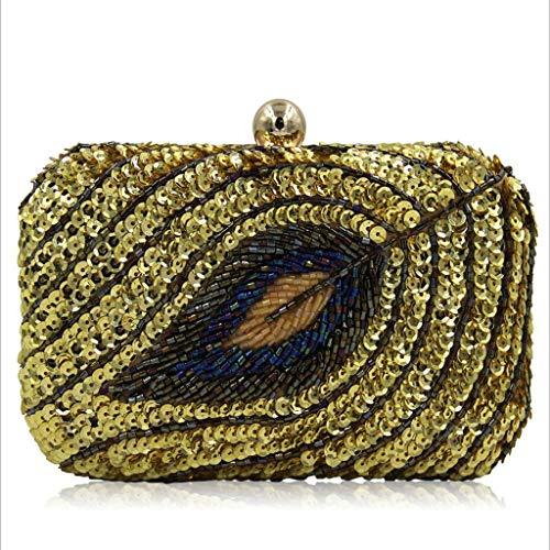 WYGmadlifeqq Damenbankettasche Handgefertigte Pailletten, Perlenblätter, Partytasche, hochwertige Vintage-Handtasche, Tasche (Farbe : Grün, größe : 17 * 11 * 6.5cm)