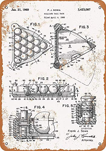 Toddrick 1969 Billard Ball Rack Patent Blech Schild Vintage Stil Retro Küche Bar Pub Coffee Shop Decor 20,3 x 30,5 cm -