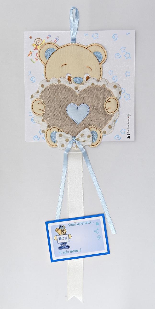 Fiocco nascita /sopraculla orsetto con cuore azzurro