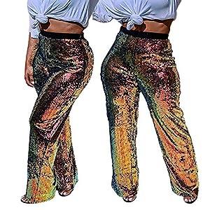 FRAUIT Damen Damen Pailletten Nachtclub Gerade Hosen Sparkle Hosen Hosen Freizeit Reisen Masquerade Festival Party Mode Wunderschön Design Elegant Wunderschön Streetwear