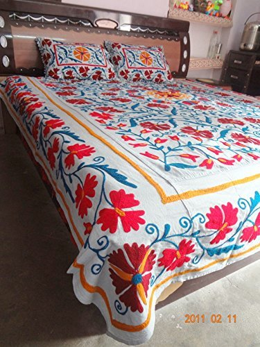 handicraftofpinkcity Suzani Kissenhülle bestickt Bett Bettlaken Doppelbett speared Set