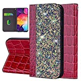 Uposao Custodia Compatibile con Samsung Galaxy A70,Luccichio Portafoglio Custodia Pelle Flip Supporto Caso Porta Carte 3D Strass Libro Protettiva Flip Cover Modello di Coccodrillo Design-Vino Rosso