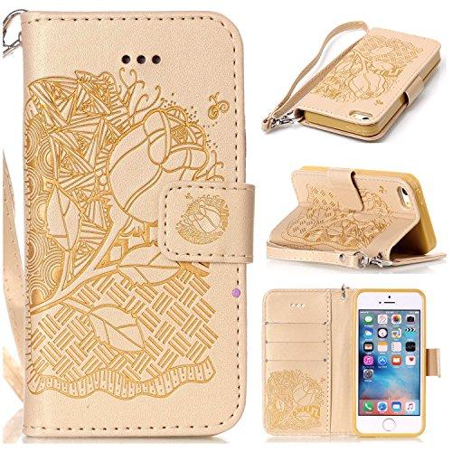 iPhone Case Cover Neue Art gepresstes Embossing Blumen Windchime-Muster Retro- Folio-Schlag-Standplatz-Mappen-Kasten mit Handbügel für IPhone 5S SE ( Color : 5 , Size : IPhone 5S SE ) 5