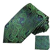 Paul Malone Seidenkrawatten Set 2tlg schmale 6cm Krawatte blau grün paisley + Einstecktuch (Normallange 150cm)