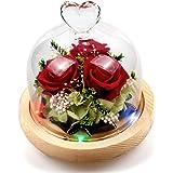 swonuk Rosa dei Fiori Conservata Rosa Eterna con 8 Colori Luce LED Petali Caduti Rose Incantate per Anniversario di Matrimoni