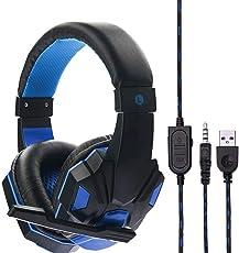 Gaming Headset, Gaming Kopfhörer Surround Stereo Stirnband Kopfhörer 3,5 mm mit Mikrofon Ohne Licht für PS5 / Xbox/One PC/Switch / Laptop/Tablets /Handy