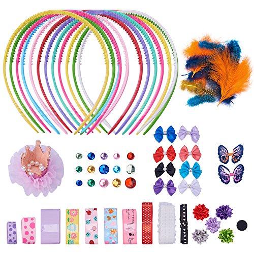 SUNNYCLUE 1 Set 80+ stück DIY Mode stirnbänder kit Kinder Kunst und Handwerk Kits,Frauen Mädchen Schmuck Machen Kit - dekoriert mit Haarschmuck Band Bowknot Feder- 12 Stirnband (Stirnband Diy Kit)