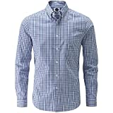 Charles Wilson Long Sleeve Classic Casual Shirt (XX-Large, Navy & Sky Blue)