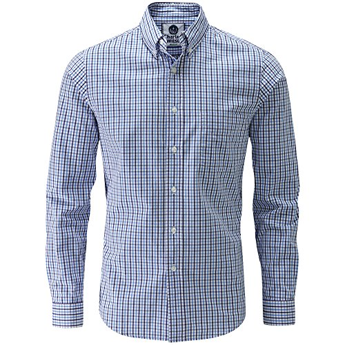 Charles Wilson Long Sleeve Classic Casual Shirt (XXX-Large, Navy & Sky Blue)