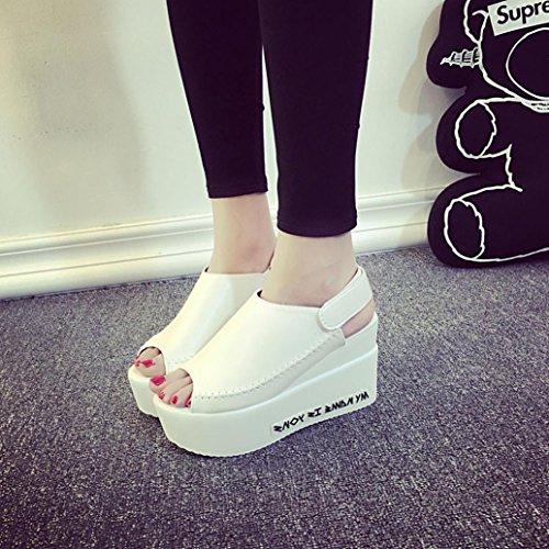 Omiky® Frauen Sandalen Weibliche Keil Plattform Schuhe Elegante High Heel Sandalen Weiß