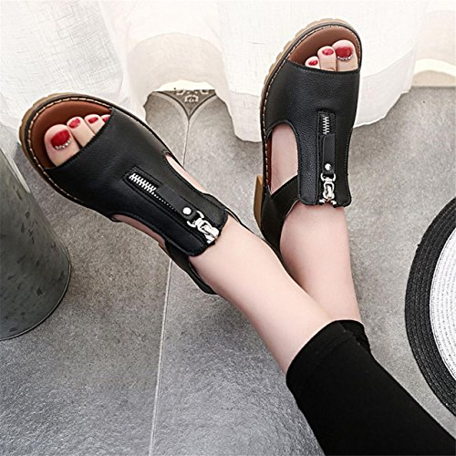 LHWY Damen Sport Casual Sandalen Schuhe Ladies Platform Sandalen Keile Schwarz