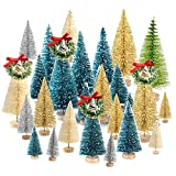TUPARKA 36Pcs Alberi di Natale in Miniatura Alberi Pennello Bottiglia Mini Sisal Alberi di Natale Neve in Gelo con ghirlande di Natale per Natale Party Natale Table Top Decor