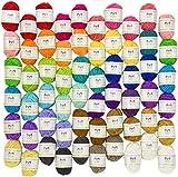 Mira Handcrafts 60 écheveaux de fil bonbon – Fil texturé pour le crochet – Écheveaux de fil 100 % acrylique aux couleurs assorties – Joli sac de rangement inclus