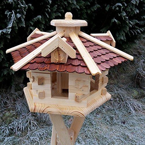 Qualitäts Vogelhaus mit Holzschindeln 6 Eck lasiert Vogelhäuser-Vogelfutterhaus großes Vogelhäuschen-aus Holz Wetterschutz (Braun)