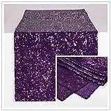 Zdada 30,5x 177,8cm Paillette Chemin de Table à Paillettes Argentées, Sequin Tablerunner Argent 12x108inch Violet