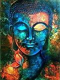 qiulv DIY Buddha Gemälde Stickerei Harz Acryl Strass Werkzeug Buddhismus Diamant Gemälde Kreuz Kunst Stich Bunt Buddha Statue Bild Kristall Mosaik Segeltuch 5D Gemälde , square diamond , 50*62 cm