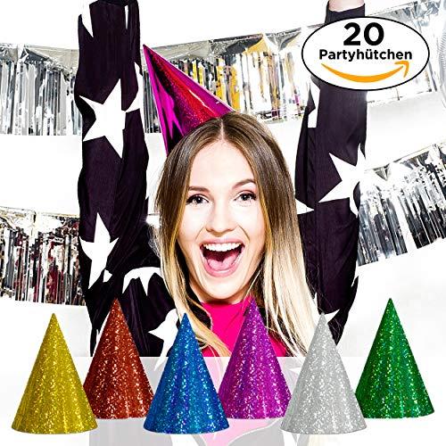 Bunt für Erwachsene und Kinder - Glitzernde Papphüte mit Gummizug in bunten Farben für Silvester, Geburtstag, Karneval & Co. ()