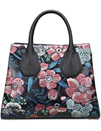Pifuren Floral Purses Women'S Genuine Leather Top Handle Shoulder Bag (22225H, Peony Flower)