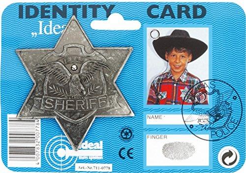 J.G.Schrödel Sheriff-Stern antik: für Cowboy-Kostüme, ideal für Fasching, auf Karte, grau (711 0778)